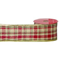 Christmas Ribbons & Bows - Ribbon Linen Tartan Red Green (60mmx10m)