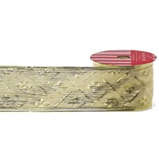 Metallic Ribbon - Ribbon Woven Metallic Diamond Pattern Gold Wired (50mmx10m)