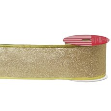 Metallic Ribbons Plain - Ribbon Full Glitter with Sonic Edge Gold (60mmx10m)