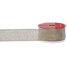Christmas Ribbons & Bows - Ribbon Plain Linen with Glitter Flecks Gold (40mmx10m)