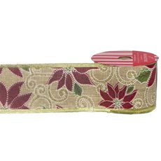 Christmas Ribbons & Bows - Ribbon Linen Poinsettia Natural Red Green Wired (50mmx10m)