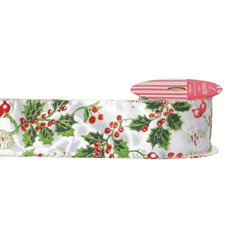 Christmas Ribbons & Bows - Ribbon Satin Holly Leaf White Multi (60mmx10m)