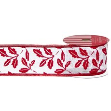 Christmas Ribbons & Bows - Ribbon Linen with Holly Leaf White Red (60mmx10m)