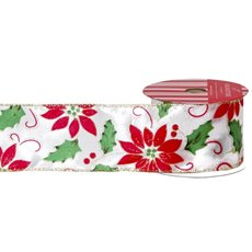 Christmas Ribbons & Bows - Ribbon Satin Ponsettia Leaf White Red Green Wired (50mmx10m)