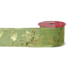 Christmas Ribbons & Bows - Ribbon Linen with Metallic Poinsettia Green Gold (60mmx10m)