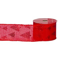 Christmas Ribbons & Bows - Ribbon Linen with Metallic Xmas Tree Red (60mmx10m)