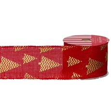 Christmas Ribbons & Bows - Ribbon Linen with Metallic Xmas Tree Red Gold (60mmx10m)