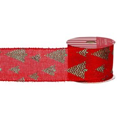 Christmas Ribbons & Bows - Ribbon Linen with Metallic Xmas Tree Red Green (60mmx10m)