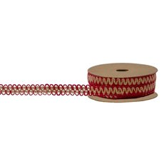 Jute Ribbons - Ribbon Cotton Jagged Red Edging Natural Red (10mmx10m)