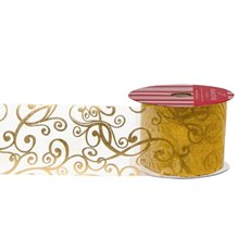 Christmas Ribbons & Bows - Ribbon Organza Circles Gold Silver (60mmx20m)