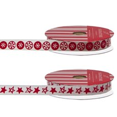 Christmas Ribbons & Bows - Ribbon Grosgrain Snowflake Red (10mmx10m) Pack 2