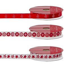 Christmas Ribbons & Bows - Ribbon Grosgrain Xmas Red White (10mmx3m) Pack 3