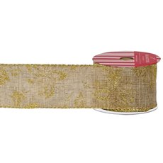 Christmas Ribbons & Bows - Ribbon Linen Outline Poinsettia Metallic Gold(60mmx10m)