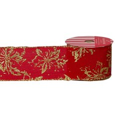 Christmas Ribbons & Bows - Ribbon Linen Outline Poinsettia Metallic Gold Red (60mmx10m)