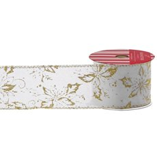 Christmas Ribbons & Bows - Ribbon Linen Outline Poinsettia Metallic Gold Wht (60mmx10m)