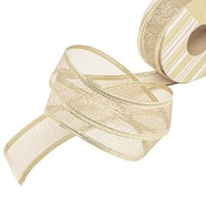 Metallic Ribbon - Ribbon Metallic Mesh Champagne Wired Edge (40mmx20m)