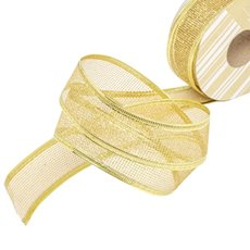 Metallic Ribbon - Ribbon Metallic Mesh Gold Wired Edge (40mmx20m)