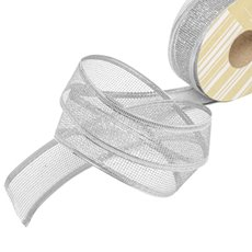 Metallic Ribbon - Ribbon Metallic Mesh Silver Wired Edge (40mmx20m)