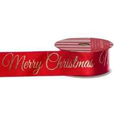 Christmas Ribbons & Bows - Ribbon Satin DF Merry Christmas Foil Gold Red (25mmx25m)