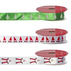 Christmas Ribbons & Bows - Ribbon Satin Santa, Tree White Green (15mmx10m) Pack 3