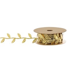 Christmas Ribbons & Bows - Ribbon Leaf Garland String Gold (25mmx10m)