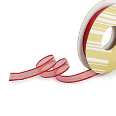 Metallic Ribbon - Ribbon Metallic Shimmer Red Wired Edge (10mmx10m)