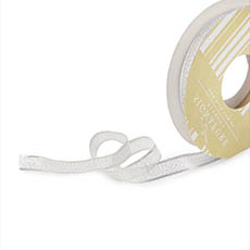 Metallic Ribbon - Ribbon Metallic Shimmer Silver Wired Edge (10mmx10m)