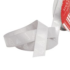 Christmas Ribbons & Bows - Ribbon Grosgrain Xmas Tree Grey Silver (20mmx10m)