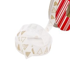 Christmas Ribbons & Bows - Ribbon Grosgrain Xmas Tree White Gold (20mmx10m)