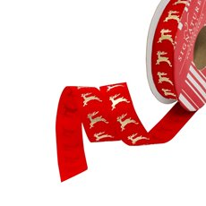 Christmas Ribbons & Bows - Ribbon Grosgrain Reindeer Red Gold (20mmx10m)