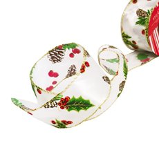 Christmas Ribbons & Bows - Ribbon Satin Christmas Pinecone White Multi Wired (50mmx10m)