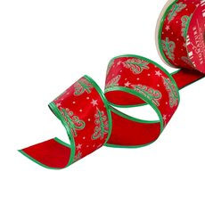 Christmas Ribbons & Bows - Ribbon Satin Xmas Tree Star Red Green Wired Edge (50mmx10m)