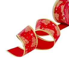 Christmas Ribbons & Bows - Ribbon Satin Xmas Tree Star Red Gold Wired Edge  (50mmx10m)