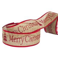 Christmas Ribbons & Bows - Ribbon Linen Glitter Christmas Natural Red Wired (60mmx10m)