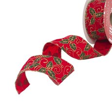 Christmas Ribbons & Bows - Ribbon Velvet Holly Red Wired Edge (50mmx10m)