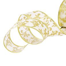 Christmas Ribbons & Bows - Ribbon Satin Swirl White Wired Edge (50mmx20m)
