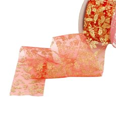 Christmas Ribbons & Bows - Ribbon Organza Red with Gold Glitter  (50mmx20m)