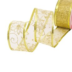 Christmas Ribbons & Bows - Ribbon Organza Poinsettia Gold Wired Edge (50mmx20m)