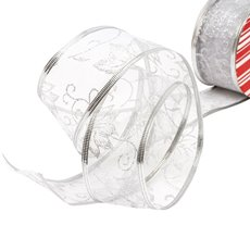 Christmas Ribbons & Bows - Ribbon Organza Poinsettia Silver Wired Edge (50mmx20m)