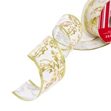 Christmas Ribbons & Bows - Ribbon Satin Holly White Gold Wired Edge (50mmx10m)