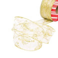 Christmas Ribbons & Bows - Ribbon Organza Glitter Tree Gold Wired Edge (50mmx20m)