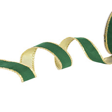 Velvet Ribbon - Ribbon Velvet with Gold Backing Green Wired Edge (25mmx10m)