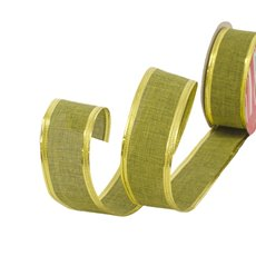 Cotton & Linen Ribbons - Ribbon Linen Plain Green Wired Edge (40mmx10m)