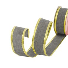 Christmas Ribbons - Ribbon Linen Plain Grey Wired Edge (40mmx10m)