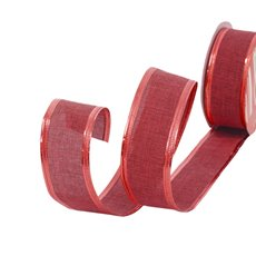 Cotton & Linen Ribbons - Ribbon Linen Plain Red Wired Edge (40mmx10m)
