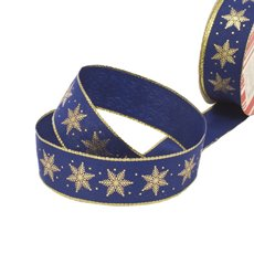 Christmas Ribbons & Bows - Ribbon Fabric Snowflake Hotstamp Navy Gold Wired (35mmx10m)