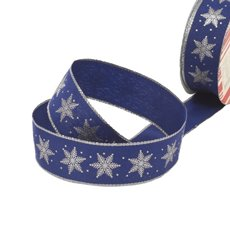Christmas Ribbons & Bows - Ribbon Fabric Snowflake Hotstamp Navy Silver Wired(35mmx10m)