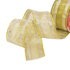 Christmas Ribbons & Bows - Ribbon Woven Mesh Stripe Gold Silver Wired Edge (50mmx10m)