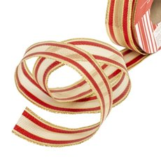 Metallic Ribbons Plain - Ribbon Woven Mesh Stripe Gold Red Wired Edge (30mmx10m)