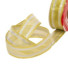 Christmas Ribbons & Bows - Ribbon Woven Mesh Stripe Gold Silver Wired Edge (30mmx10m)